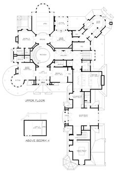 Second Floor Plan of Farmhouse Victorian House Plan 87643. Way too big but some good arrangement ideas