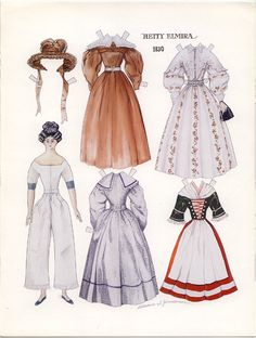 HETTY ELMIRA 1830 Paper Doll with Fashion Descriptions by Catherine Zimmerman from Doll News Spring 1994 <<>> 1 of 3