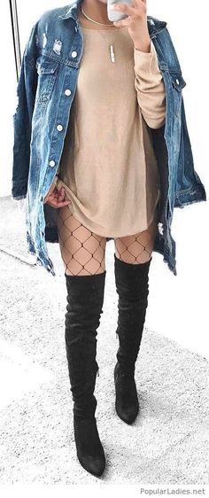 Nude dress with an oversize denim jacket