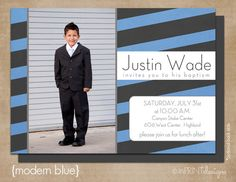 "LDS Baptism Photo Invitation (Digital or Printed)- ""Modern Blue"". $13.50, via Etsy."