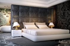 Marcel Wanders' Private Residence Taipei Bedroom with bespoke furniture and lighting design.bespoke furniture