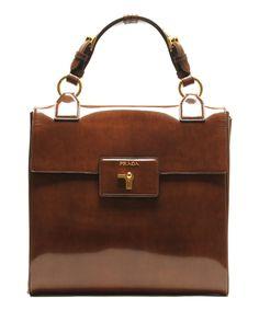 Polished Fold-Over Leather Satchel