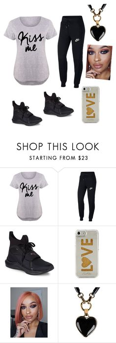 """""""I Ain't Going Outside Today"""" by manijah200271 ❤ liked on Polyvore featuring NIKE, Puma, Edie Parker, Emilio Pucci and plus size clothing"""