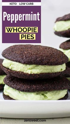 You'll love these festive keto peppermint whoopie pies! Chocolate brownie cake rounds sandwich a decadent peppermint whipped cream filling.