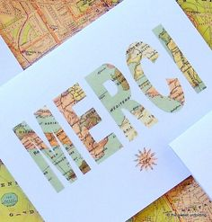 Merci - Vintage Map Thank You Cards....Table names in map lettering for airports