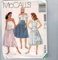 1980s Vintage Sewing Pattern McCalls 3669 Misses Skirts and Petticoat with Fitted Yoke Steampunk Neo Victorian Size 10 Waist 30 1988 80s