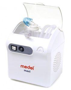 """Medel Maxi è dotato di un innovativo compressore con doppia funzione: aerosolterapia e doccia nasale. L'innovativo nebulizzatore """"breath enhanced"""" è caratterizzato da un doppio sistema valvolare che aumenta l'apporto di farmaco respirabile e, grazie al comodo tasto attivatore, consente di interrompere temporaneamente la nebulizzazione senza dover spegnere l'apparecchio; premendo il tasto, si attiverà la nebulizzazione, rilasciandolo questa verrà interrotta. Dotato anche di filtro…"""
