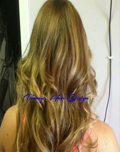 light brown base with ombre highlights with ombre and blonde Tape in extensions. # Tammy's Hair Design #Tape in extensions #ombre hair.