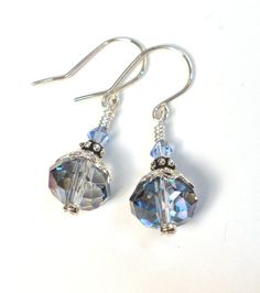 Light Sapphire Blue Earrings - Crystal Sterling Silver