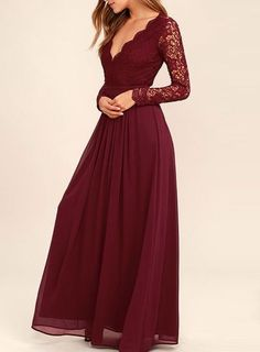 Lace Bodice Burgundy Chiffon Bridesmaid Dresses,Simple Prom Dress with Long Sleeves,PD1984