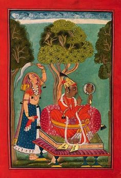 """""""Madhava Ragaputra, Son of Bhairava Raga: A Young Prince Seated on a Throne, Gazing in a Mirror,"""" Folio from a dispersed Ragamala (Garland of Melodies).   Date:     ca. 1690–1700.  Geography:     India, Chamba, Punjab Hills. Inscribed on the reverse with three short lines written in devanagari, takri, and takri / sharada script: """"Raga Madhava Son of Bhero""""."""