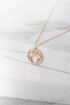 Pink Flamingo Necklace, 14k Gold Necklace, Rose Gold, Flamingo Jewelry, Gift For Her, Summer Necklace, Women's Necklace, Flamingo Pendant