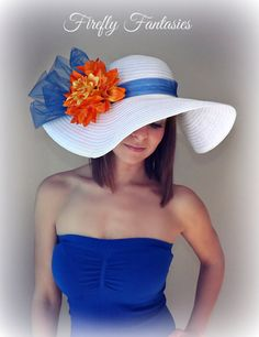 Florida Beauty - White Floppy Hat with Big Royal Blue Bow Orange Dahlia Flower Kentucky Derby Race Church Wedding Beach or Garden Tea Party