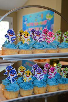2nd Birthday Party For Girl, Shark Birthday Cakes, Birthday Ideas, Baby Shark, Shark Shark, Shark Logo, Hammerhead Shark, Shark Party Decorations, First Birthdays