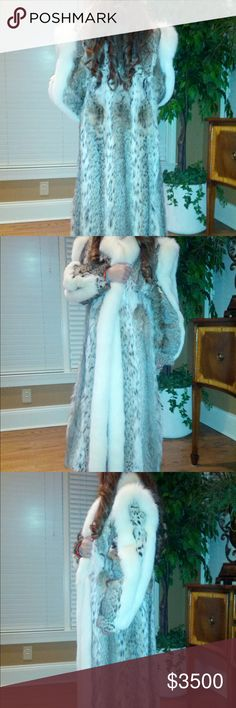 Bob Cat  Fur Coat /Henig Fur This is a Bobcat fur coat with white Fox trim and horseshoes sleeves. It is 49 inch in length-52 inch sweep, 14 inches across the back, 28 inch sleeve. It's for origin is USA/Finland. This paperwork can come with the coat. In 2014 its determined valuation was  to be $12,000 for replacement value IF used for insurance purposes.This lovely coat is Authentic and it will be sent to Poshmark for  verifying. Barely worn because I live in Florida now.The inside is lined…