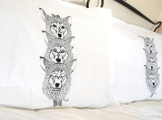 Wolf Totem Hand Printed Pillow Cases by barkdecor