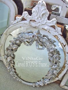 ChiPPy! - SHaBBy!   ViNTaGe Carved RoSeS Mirror Frame!*!*! Oh-So-SHaBBy...