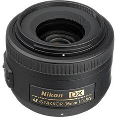 This Nikon 35 mm DX-G is good for indoor photo without flash and also works well for portraits and kids playing etc.