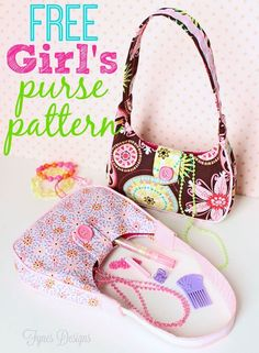 Free printable sewing pattern to make an adorable little girl's purse. Bag
