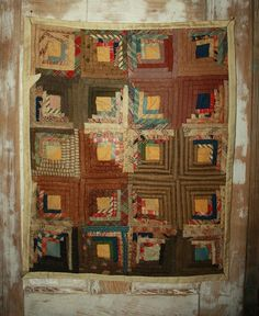 """Wonderful Early Log Cabin Doll Quilt, 19 x 23"""" ~ Lot of Browns, Paisley, from scrapsanddolls on Ruby Lane"""