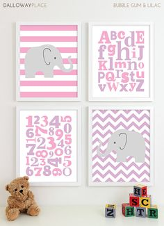 Baby Girl Nursery Art Chevron Elephant Nursery Prints, Kids Wall Art Baby Girls Room, Girls Nursery ABC Alphabet Nursery Art Print - 8x10 via Etsy