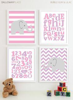 Baby Girl Nursery Art Chevron Elephant Nursery Prints, Kids Wall Art Baby Girls Room, Girls Nursery ABC Alphabet Nursery Art Print - 8x10 via Etsy