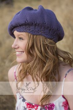 Knitting Pattern Selina Hat- # Slouchy beret with lace brim in sizes for Children and Adults. More pics on Etsy. tba family