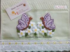 Toalha de Mão bordada em Ponto Russo, borboletas - Facebook: Biartes Bordados