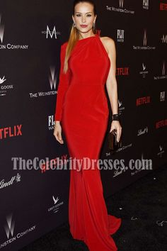 Petra Nemcova Red One-sleeve Evening Prom Dress Weinstein Company Golden Globes After-party - TheCelebrityDresses