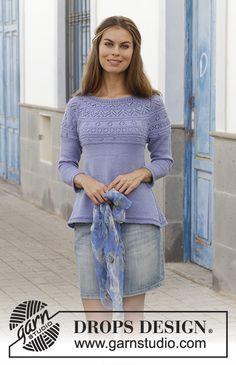 Taormina Sweater / DROPS 186-29 - Pull tricoté de haut en bas avec point ajouré et empiècement arrondi, en DROPS BabyMerino. Du S au XXXL.