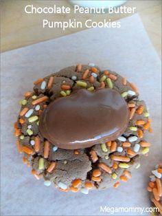Chocolate Peanut Butter Pumpkin Cookies | Megamommy.com