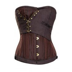 Corset Story - CD-611 - Brown Jacquard Corset with Zip Detail