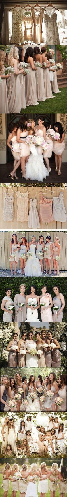 pretty neutrals of every shade! beige, blush, champagne, ivory, cream, tan, khaki, bridesmaids dresses.