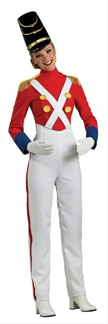 Unisex Toy Soldier Nutcracker Christmas Costume - The Nutcracker balet is centered around this holiday decoration and is a strong presence for guarding your home and maybe even Santa's workshop!  This Toy Soldier costume is a one piece jumpsuit that zippers in the back. The top is red with blue wrist cuffs. There's epaulets on the shoulders with gold braided tassels that hang down. #nutcracker #christmas #yyc #costume