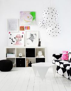 Black and white with pops of colour.
