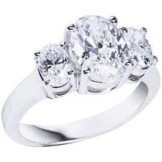 GIA Certified Oval Cut Diamond Platinum Three-Stone Engagement Ring 1