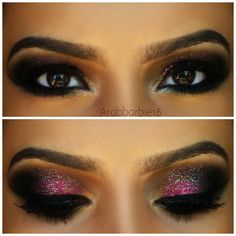 Dark eye makeup is softened by pink and made prettier with glitters. Try this gorgeous look on your next night out or formal event.