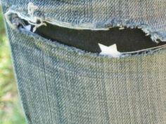 Jeans troué réparé Upcycling