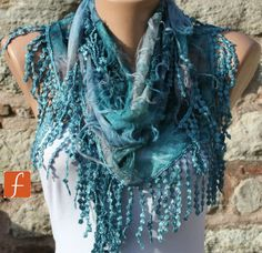 Blue Scarf -  Cowl with Lace Edge -Gift Ideas For Her Women Fashion Accessories -  Fatwoman