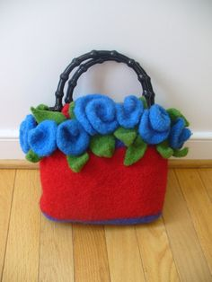 Felted Knitting Pattern Clutch with bonus Roses by PippsPurses, $5.00
