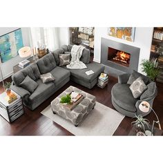 American signature cordoba collection gray microfiber sectional with matching ottoman and swivel chair