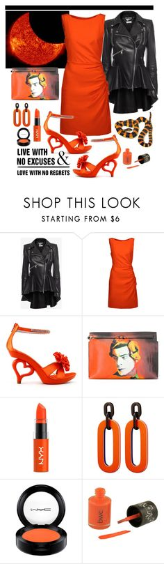 """Orange Sun (It's my Birthday :-))"" by giovanina-001 ❤ liked on Polyvore featuring Alexander McQueen, Moschino, Loewe, NYX, WALL and MAC Cosmetics"