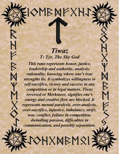 TIWAZ | Meaning: Creator, Spear, Tyr - The Norse God of Justice | Invites Strength of Purpose, Will Power & Resolution of Conflict | Element: Air