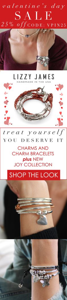 Treat Yourself this Valentine's Day! You Deserve It! Featuring charms and charm bracelets plus the newly released JOY Collection - stylish, stackable and self-adjustable bracelets. Our designs fit all wrist sizes from petite to plus size. Handmade in the USA and currently part of our sitewide Lizzy James sale. Please use code VPIN25 for 25% OFF + FREE shipping. #MadeInUSA