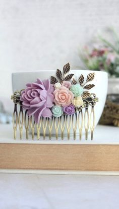 Purple Flower Large Comb, Purple Wedding, Lavender, Pink, Mint, Green, Ivory, Leaf LARGE Hair Comb. Bridesmaid Gift Comb, Lavender Haircomb by Marolsha - https://www.etsy.com/listing/269880348/purple-flower-large-comb-purple-wedding?ref=shop_home_active_12