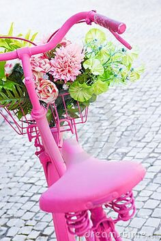 Photo about Detail of a pink painted bicycle with a basket with flowers and leaves. Image of petals, garden, bicycle - 16006146 Color Rosa, Pink Color, Bicycle Painting, Bicycle Art, Bicycle Decor, Bicycle Tools, Bicycle Basket, Pink Bike, Rosa Pink
