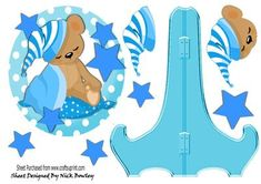 Cute teddy with his blue blanket and stars plate and stand on Craftsuprint - Add To Basket!