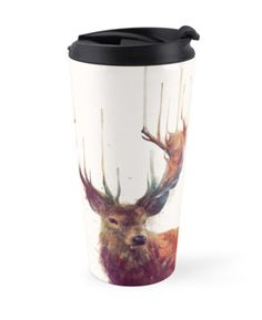 Red deer watercolor drip illustration on a Travel Mug, designed by Amy Hamilton. Also available in Classic and Tall traditional mugs.