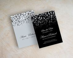 Black and silver polka dot save the date card, modern, snow, snowfall, starry night, twinkling lights, glitter save the date cards, Glitter