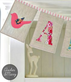 Sweet rectangular bunting - could do girls' names over each bed and meet in the middle with hanging paper lanterns Name Bunting, Fabric Bunting, Bunting Garland, Pennant Banners, Bunting Banner, Bunting Ideas, Pennant Banner Template, Burlap Bunting, Nursery Bunting
